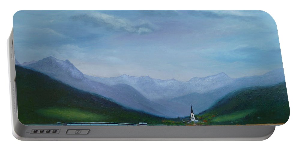 Weissensee Portable Battery Charger featuring the painting Magic Kingdom by Petra Stephens