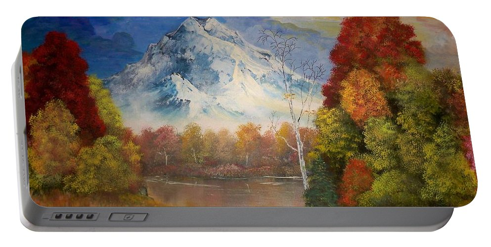 Mountain Painting Portable Battery Charger featuring the painting Magic Mountain by Dave Farrow