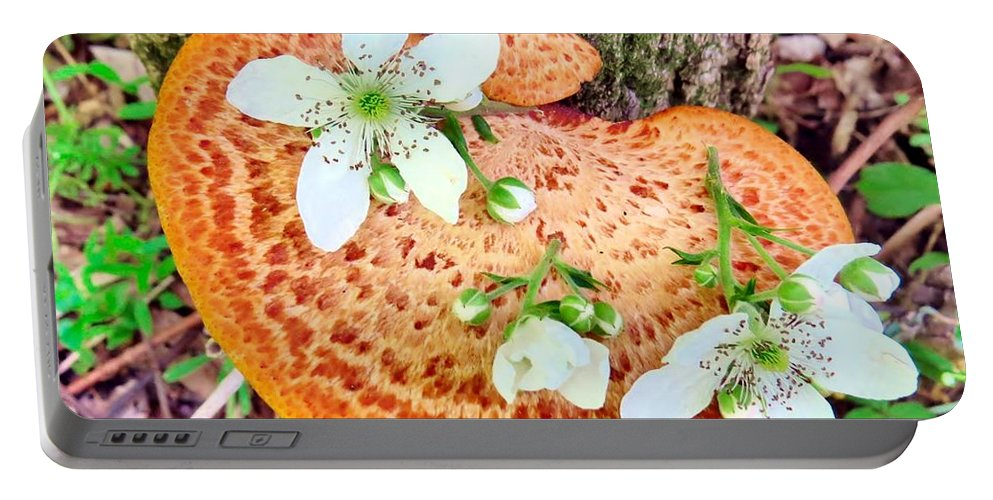 Fae Portable Battery Charger featuring the photograph Magic Mushroom by Art Dingo