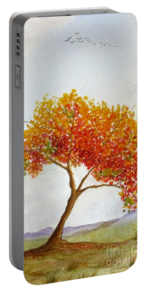 Tree Portable Battery Charger featuring the painting Lone Tree by Leanne Seymour