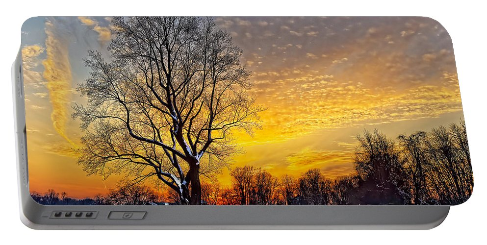 Winter Portable Battery Charger featuring the photograph Magical Winter Sunset by William Jobes