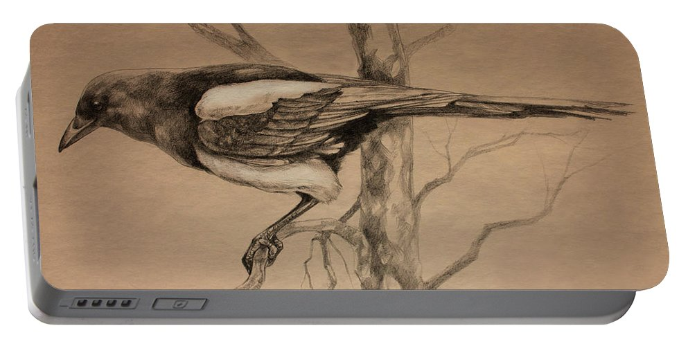 Magpie Portable Battery Charger featuring the drawing Magpie Sketch by Derrick Higgins