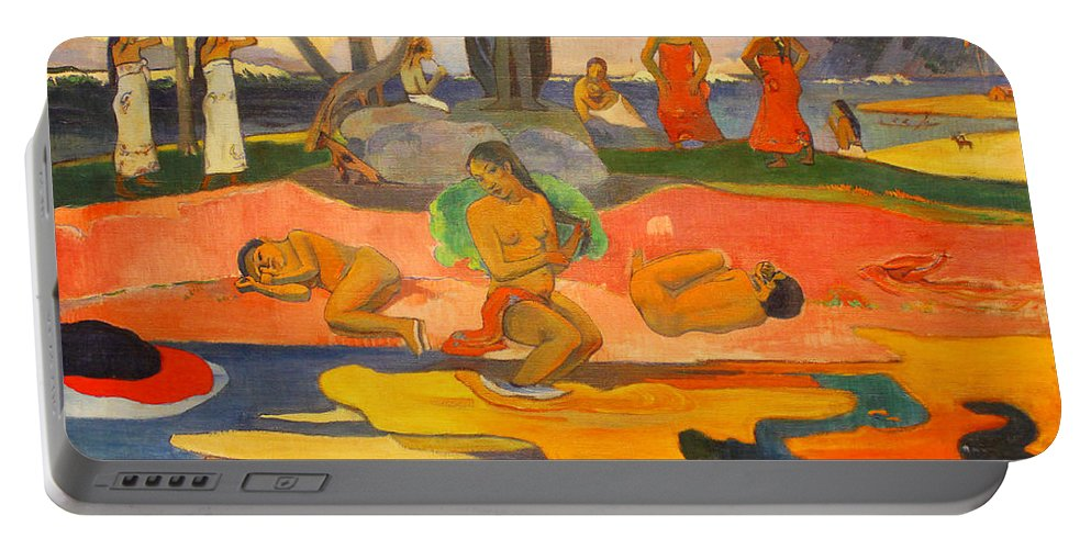 Paul Gauguin Portable Battery Charger featuring the painting Mahana No Atua Aka. Day Of The Gods by Paul Gauguin