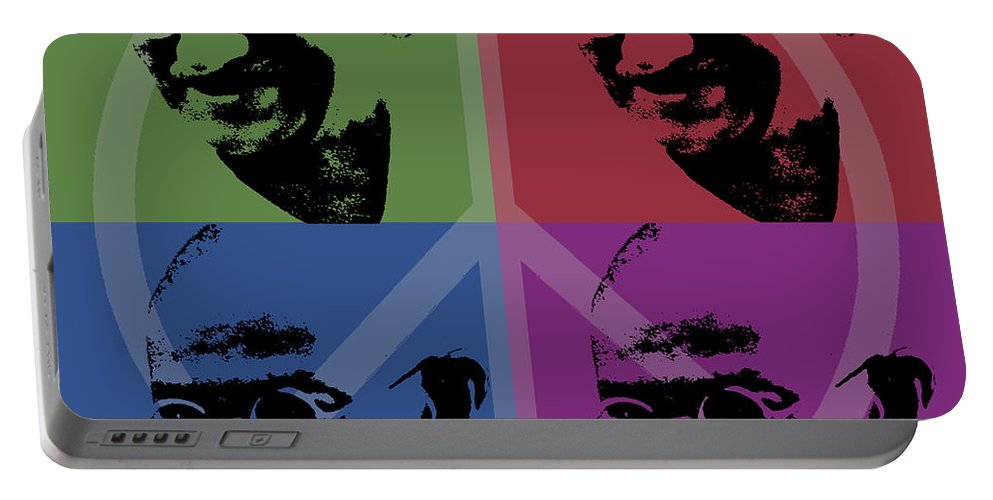 Gandhi Portable Battery Charger featuring the digital art Mahatma Gandhi by Jean luc Comperat
