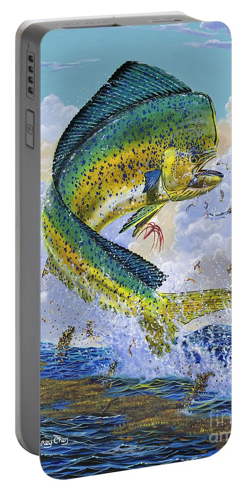 Dolphin Portable Battery Charger featuring the painting Mahi Hookup Off0020 by Carey Chen
