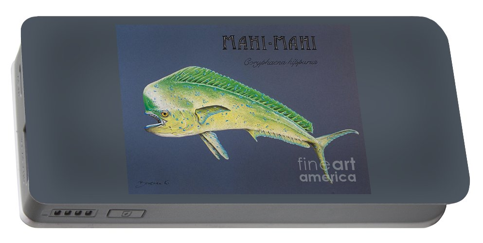 Mahi Mahi Portable Battery Charger featuring the pastel Mahi-mahi by Katharina Filus