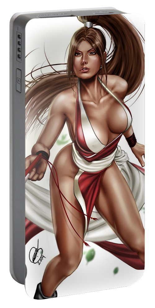 Comic Portable Battery Charger featuring the painting Mai Shiranui by Pete Tapang
