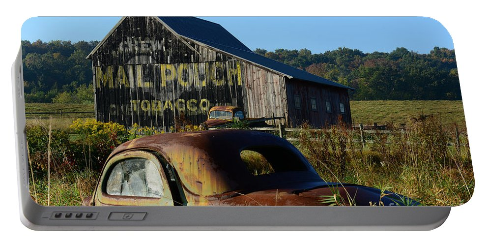 Paul Ward Portable Battery Charger featuring the photograph Mail Pouch Barn And Old Cars by Paul Ward