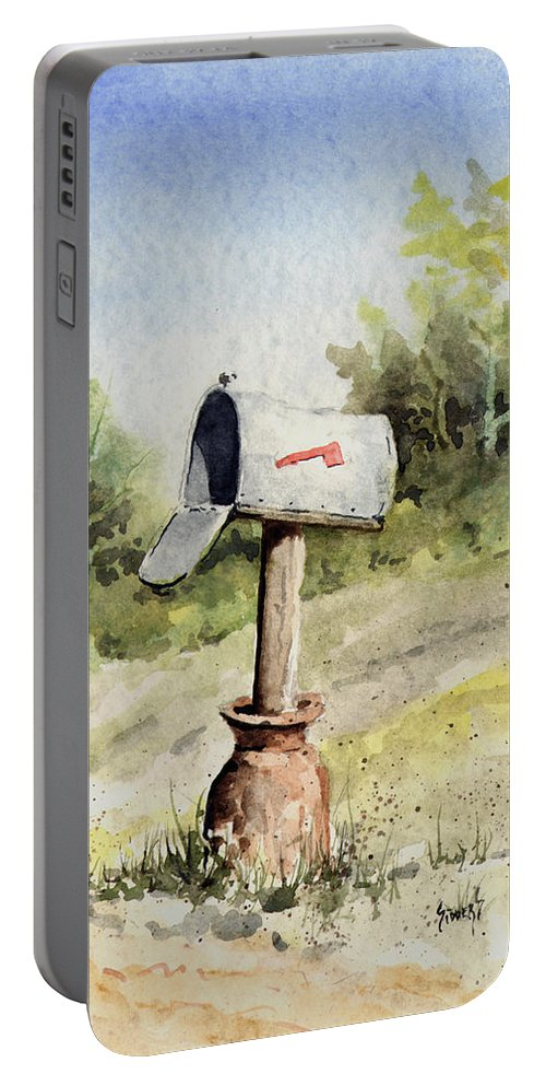 Mail Portable Battery Charger featuring the painting Mailbox by Sam Sidders
