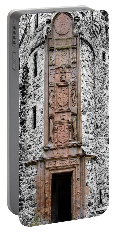Huntly Portable Battery Charger featuring the photograph Main Door Huntly Castle - 7 by Paul Cannon