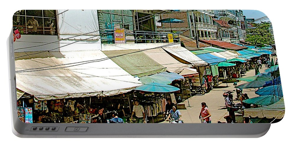 Main Street Marketplace In Tachilek Portable Battery Charger featuring the photograph Main Street Marketplace In Tachilek-burma by Ruth Hager