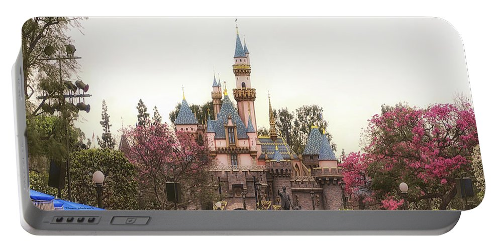 Disney Portable Battery Charger featuring the photograph Main Street Sleeping Beauty Castle Disneyland 02 by Thomas Woolworth