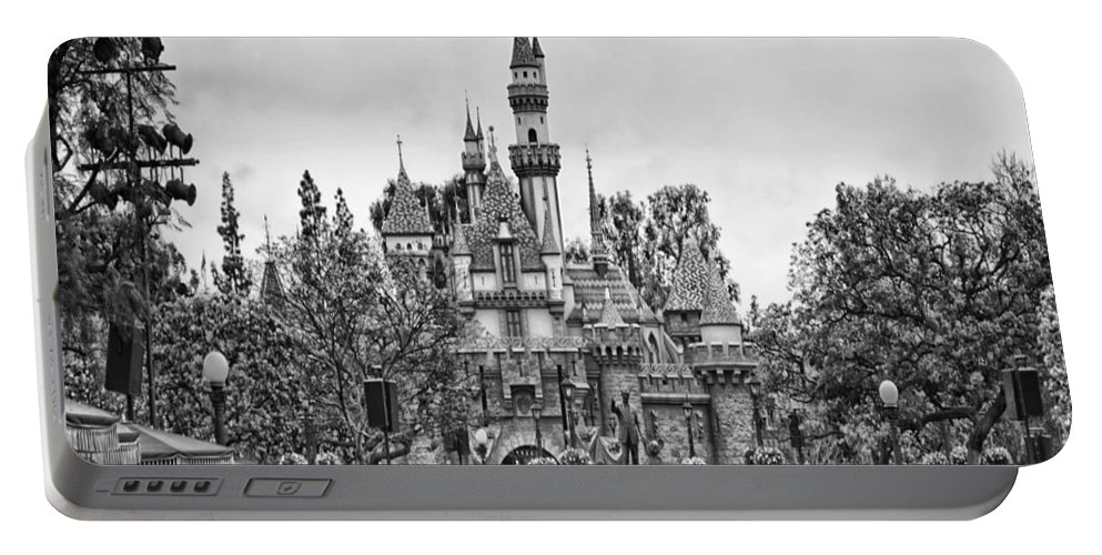 Disney Portable Battery Charger featuring the photograph Main Street Sleeping Beauty Castle Disneyland Bw by Thomas Woolworth