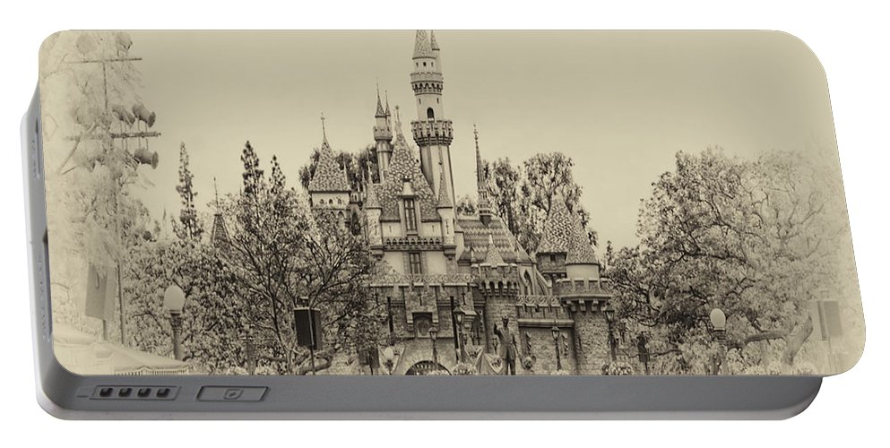 Disney Portable Battery Charger featuring the photograph Main Street Sleeping Beauty Castle Disneyland Heirloom 01 by Thomas Woolworth