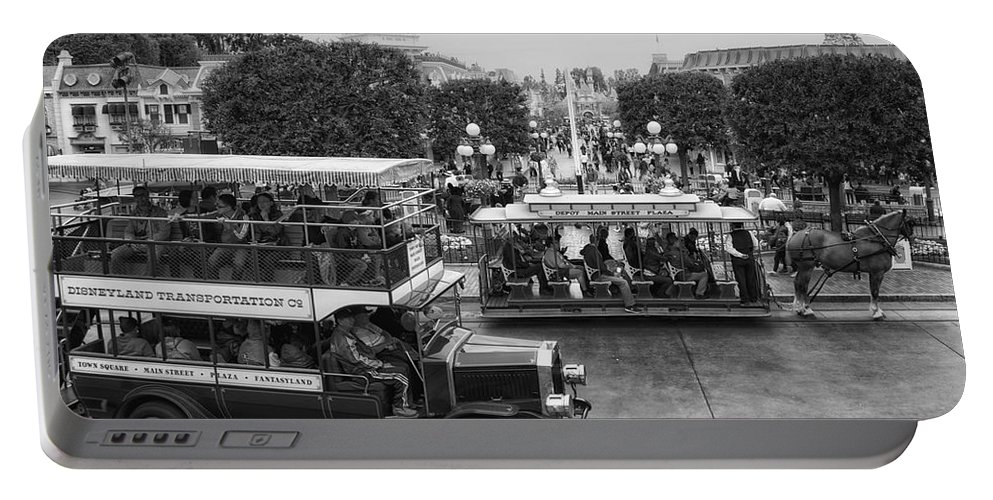 Disney Portable Battery Charger featuring the photograph Main Street Transportation Disneyland Bw by Thomas Woolworth