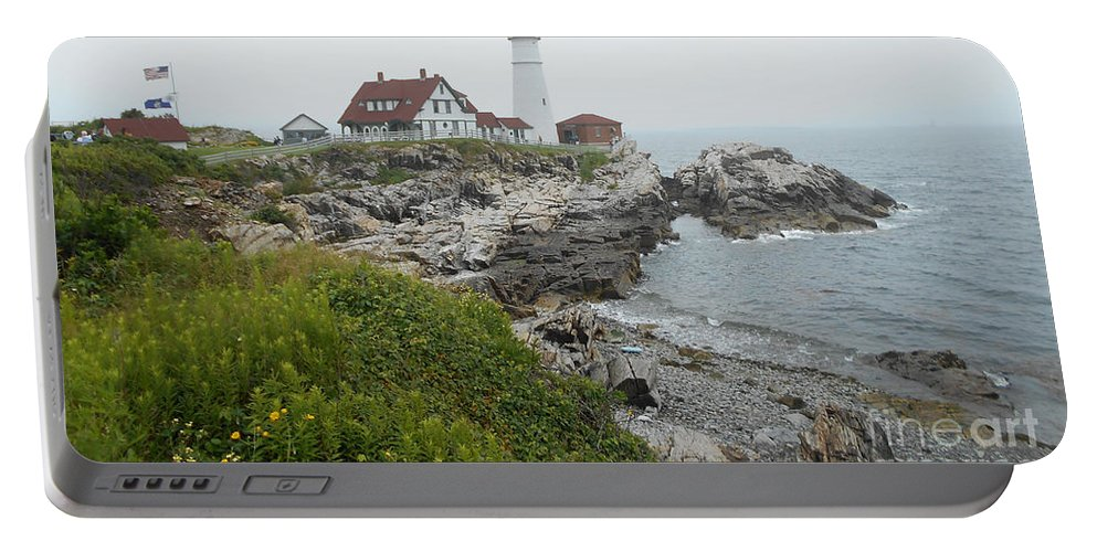 Maine Portable Battery Charger featuring the photograph Maine Coastline by Ruth Housley
