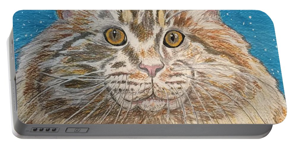 Maine Portable Battery Charger featuring the painting Maine Coon Cat by Kathy Marrs Chandler