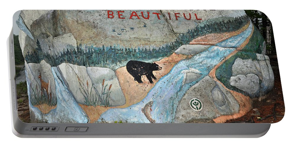 Baxter State Park Portable Battery Charger featuring the photograph Maine Rock Painting by Glenn Gordon