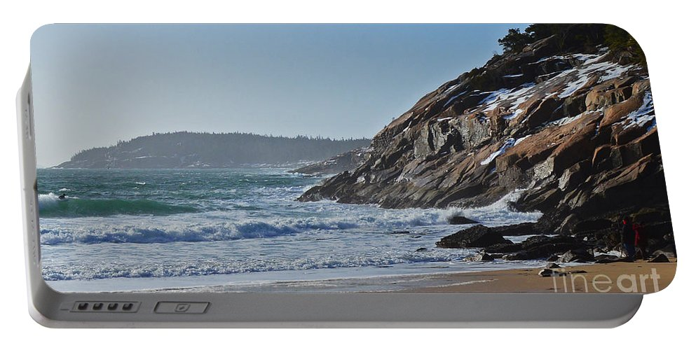 Maine Portable Battery Charger featuring the photograph Maine Surfing Scene by Meandering Photography