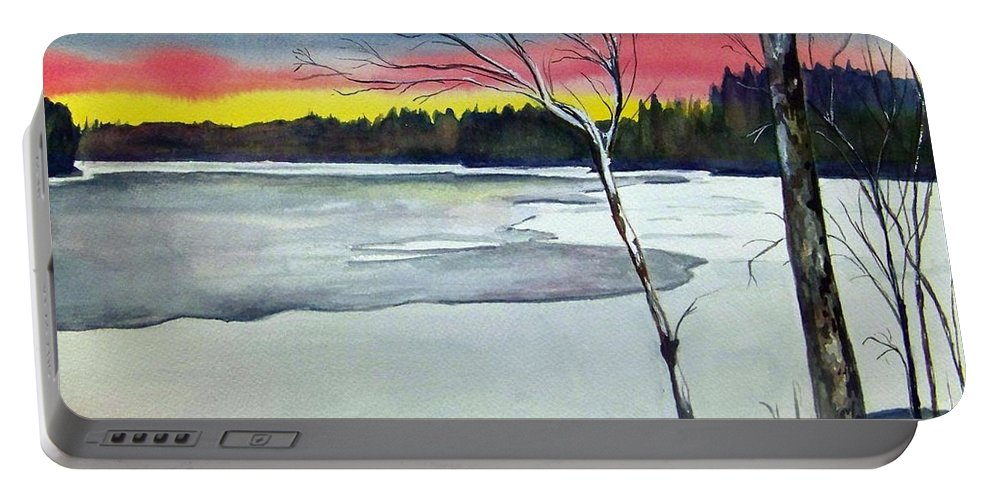 Landscape Portable Battery Charger featuring the painting Maine Winter Sunset by Brenda Owen