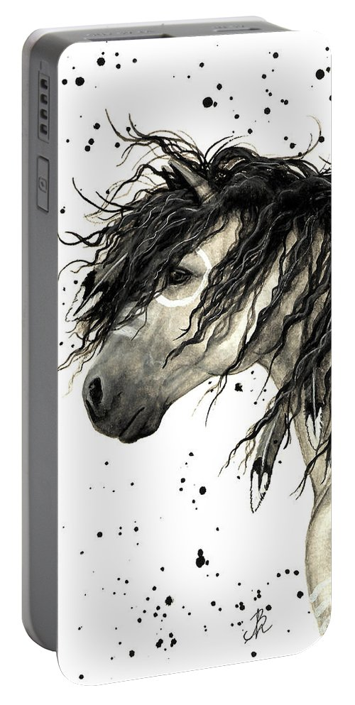 Mustang Horse Art Portable Battery Charger featuring the painting Majestic Grey Spirit Horse #44 by AmyLyn Bihrle