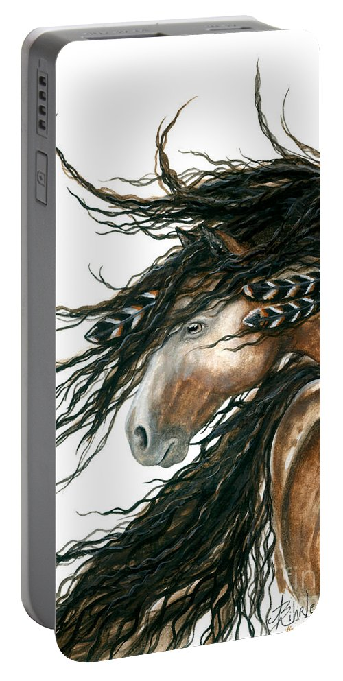 Horse Portable Battery Charger featuring the painting Majestic Pinto Horse 80 by AmyLyn Bihrle