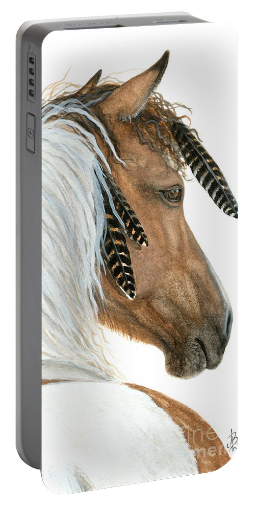 Horse Portable Battery Charger featuring the painting Majestic Curly Horse by AmyLyn Bihrle