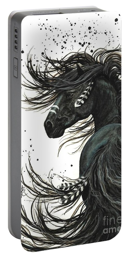 Mm65 Portable Battery Charger featuring the painting Majestic Spirit Horse I by AmyLyn Bihrle