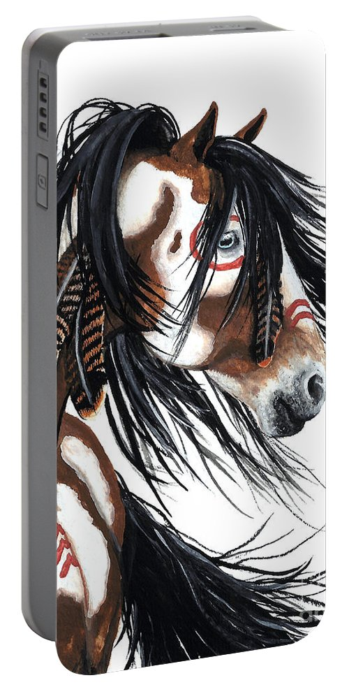 Horse Artwork Portable Battery Charger featuring the painting Majestic Pinto horse by AmyLyn Bihrle