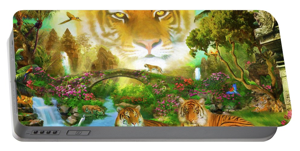 Aimee Stewart Portable Battery Charger featuring the digital art Majestic Tiger Grotto by Aimee Stewart