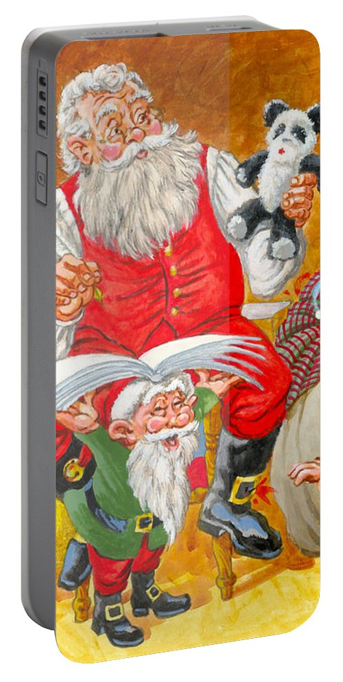 Santa Claus Portable Battery Charger featuring the painting Making A List Checking It Twice by Richard De Wolfe