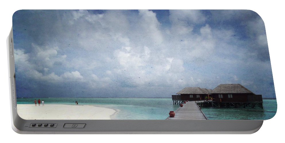 Maldives Portable Battery Charger featuring the mixed media Maldives by Heike Hultsch