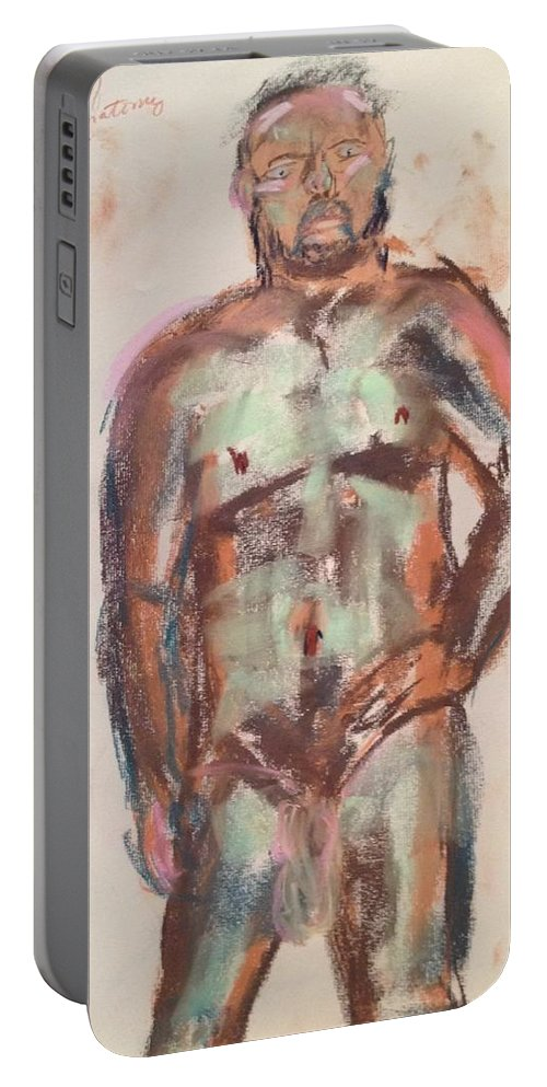 Nude Male In Sea Foam And Violet Brown Portable Battery Charger featuring the painting Male Seafoam And Violet Brown by Julene Franki