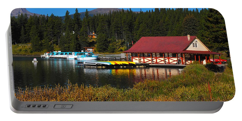 #randy Giesbrecht Portable Battery Charger featuring the photograph Maligne Lake Boathouse by Randy Giesbrecht