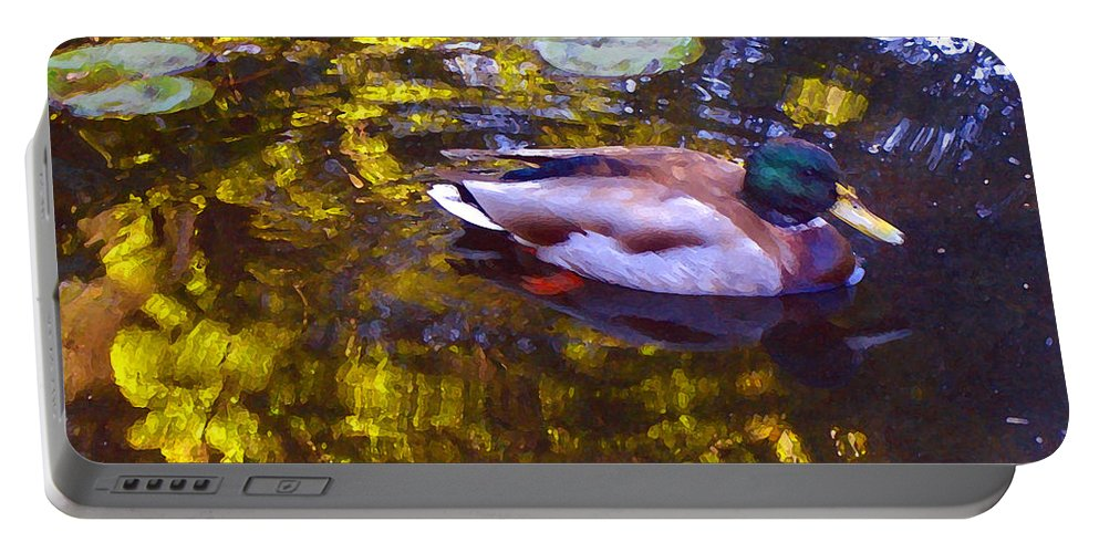 Landscapes Portable Battery Charger featuring the painting Mallard Duck On Pond 2 by Amy Vangsgard