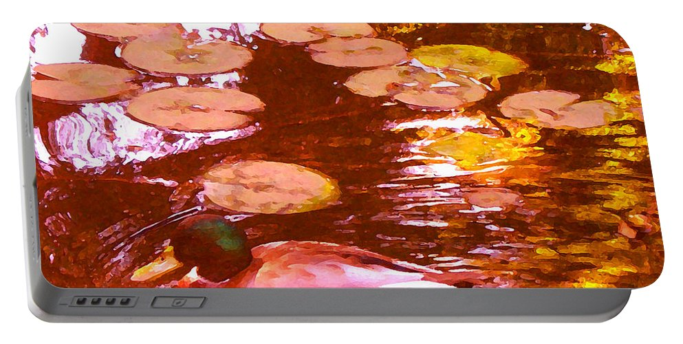 Landscape Portable Battery Charger featuring the painting Mallard Duck On Pond 3 Square by Amy Vangsgard