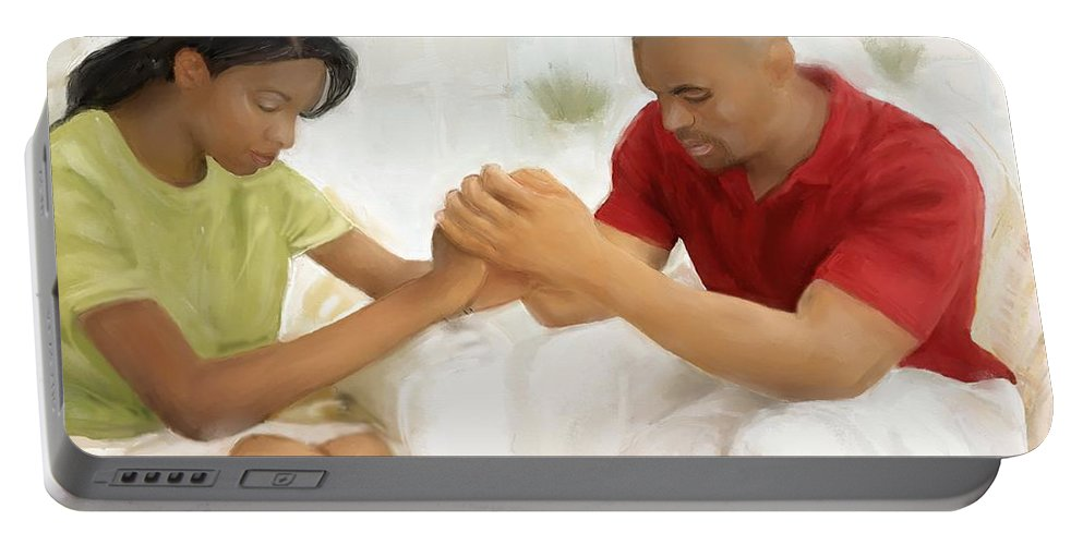 Man And Wife Painting Portable Battery Charger featuring the painting Man And Wife Pray by Vannetta Ferguson