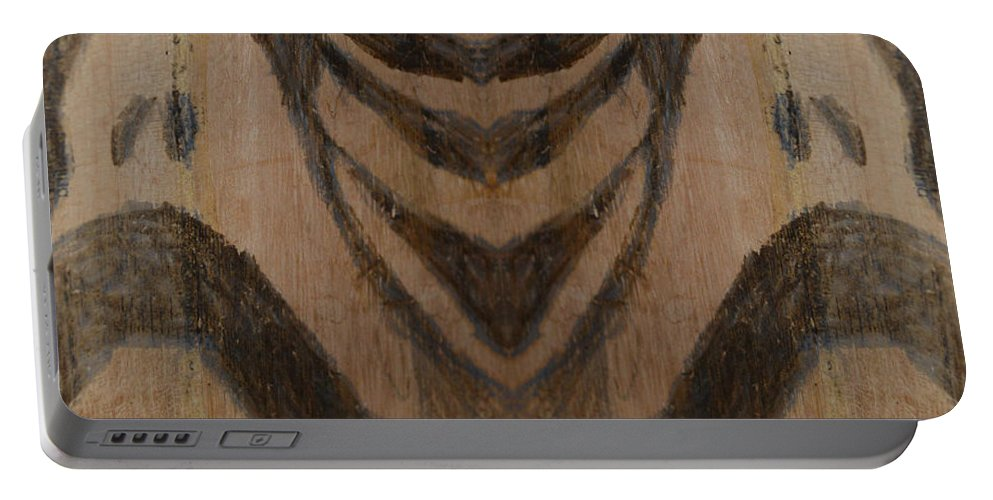 Abstract Modern Outsider Raw Folk Construction Religious Christian Catholic Religion Wood Wooden Box Distress Stress People Black Portable Battery Charger featuring the painting Man Of Sorrows I - Right And Mirrored 1 by Nancy Mauerman