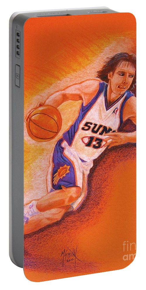 Steve Nash Portable Battery Charger featuring the drawing Man On Fire by Marilyn Smith