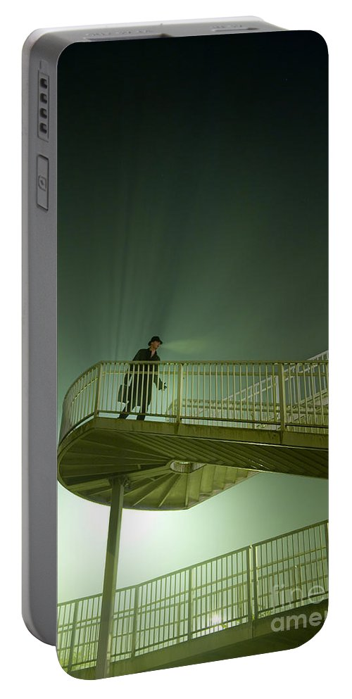 Man Portable Battery Charger featuring the photograph Man On Stairs With Case In Fog by Lee Avison