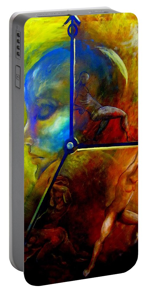 Surreal Portable Battery Charger featuring the painting Man Vs Time by Dalgis Edelson