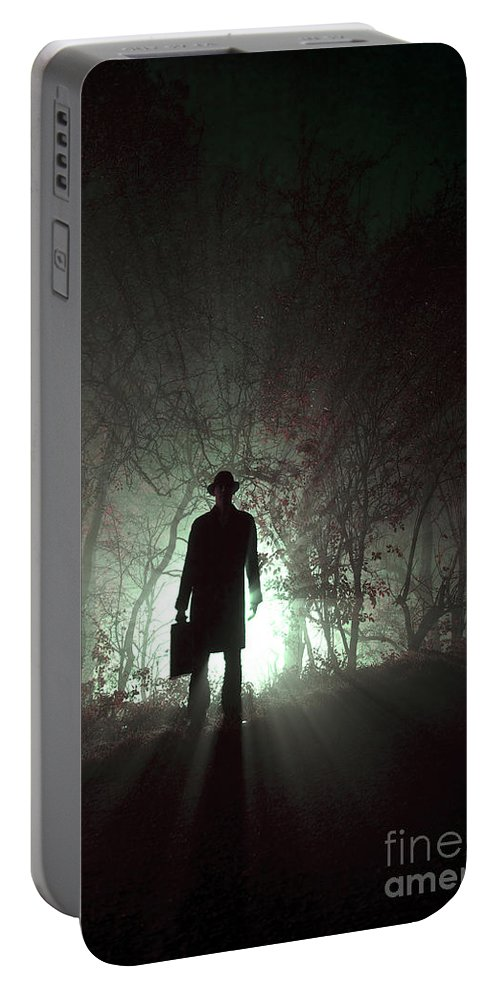Man Portable Battery Charger featuring the photograph Man Waiting In Fog With Case by Lee Avison