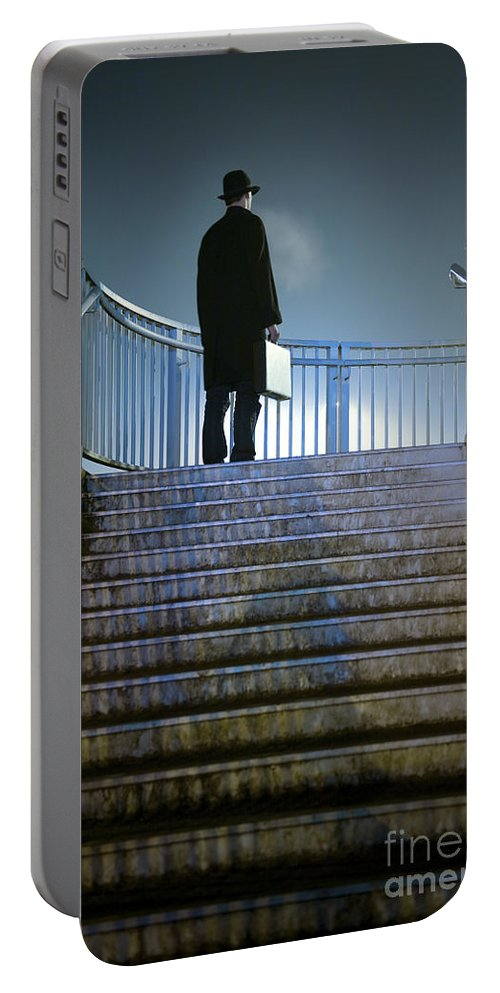 Man Portable Battery Charger featuring the photograph Man With Case At Night On Stairs by Lee Avison
