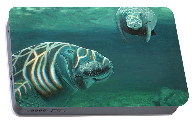 Wildlife Portable Battery Charger featuring the painting Manatee Heaven by Peter Bonk