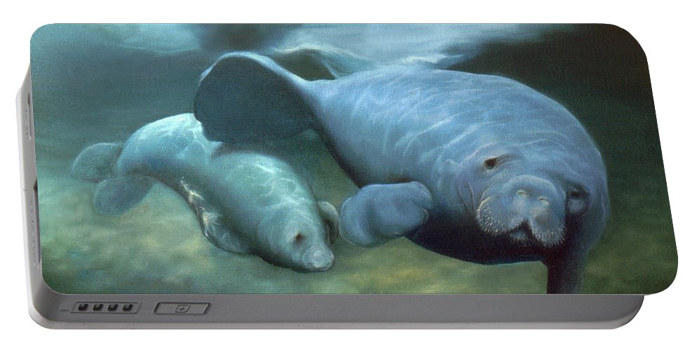 Manatees Portable Battery Charger featuring the painting Manatee Madonna by Anni Adkins