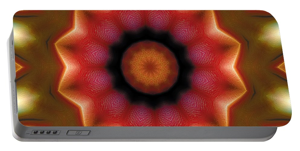 Relaxing Pattern Portable Battery Charger featuring the digital art Mandala 103 by Terry Reynoldson