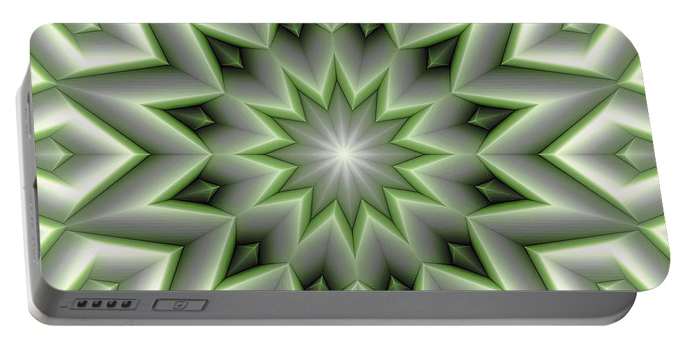 Abstract Portable Battery Charger featuring the digital art Mandala 107 Green by Terry Reynoldson