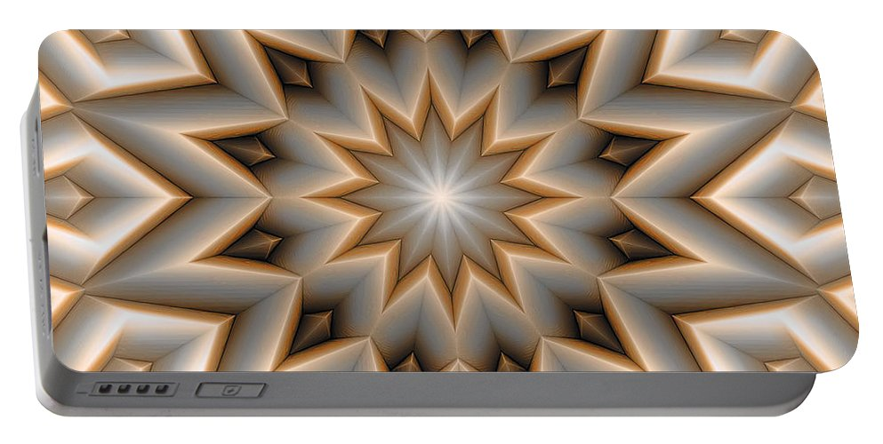 Abstract Portable Battery Charger featuring the digital art Mandala 107 Orange by Terry Reynoldson