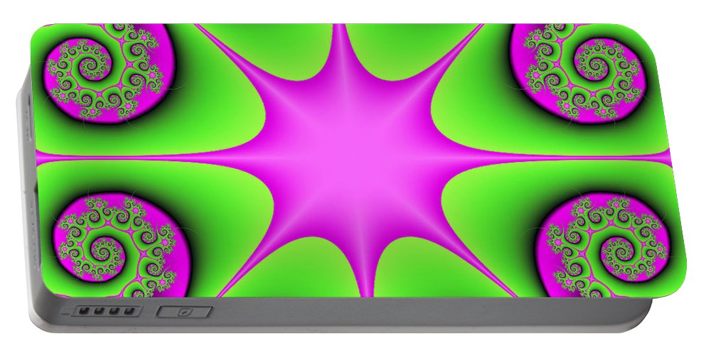 Digital Art Portable Battery Charger featuring the digital art Mandala Cheerful by Gabiw Art