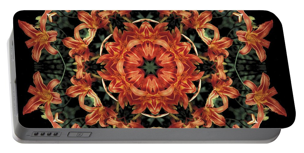 Mandala Portable Battery Charger featuring the photograph Mandala Daylily by Nancy Griswold